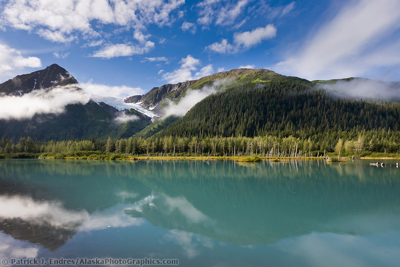 Glacier fed lake in the Chugach mountains, Portage, Alaska.