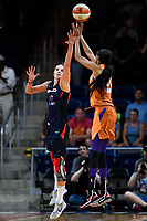 Washington, DC - July 30, 2019: Washington Mystics forward Elena Delle Donne (11) contest the shot of Phoenix Mercury forward DeWanna Bonner (24) as time expires in game between the Phoenix Mercury and the Washington Mystics at the Entertainment & Sports Arena in Washington, DC. The Mystics defeated the Mercury 99-93. (Photo by Phil Peters/Media Images International)