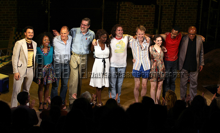 Lee Osorio, Marsha Stephanie Blake, Woody Harrelson, Nick Wyman, Shamika Cotton, Brandon Coffey, David Coomber, Shannon Garland, Tyler Jacob Rollinson & Frankie Hyman.during the Opening Night Performance Curtain Call for 'Bullet For Adolf' at the New World Stages in New York City on 8/8/2012.