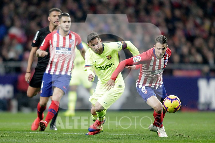 (L to R) Club Atletico de Madrid's Koke Resurreccion and Angel Correa Futbol Club Barcelona's Leo Messi  during La Liga match. November 24,2018. (ALTERPHOTOS/Alconada)