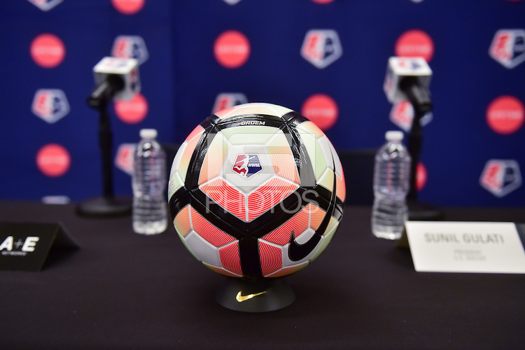 New York, NY - Thursday February 02, 2017: Nike NWSL soccer ball prior to a joint NWSL and A+E Networks press conference at the A+E headquarters.
