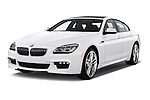 2016 BMW 6 Series 640i Gran Coupe 4 Door Sedan Angular Front stock photos of front three quarter view