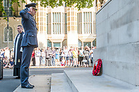 Picture by Allan McKenzie/SWpix.com - 25/08/2017 - Rugby League - Commemorative wreath laying ceremony - The Cenotaph, London, England - RFL president Air Commodore Dean Andrew salutes a wreath at the Cenotaph.