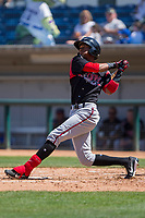 Lake Elsinore Storm Edward Olivares (11) follows through on his swing against the Rancho Cucamonga Quakes at LoanMart Field on April 22, 2018 in Rancho Cucamonga, California. The Storm defeated the Quakes 8-6.  (Donn Parris/Four Seam Images)