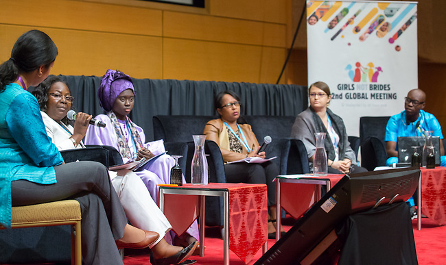 25 June, 2018, Kuala Lumpur, Malaysia : The panel at Child Marriage in Francophile Africa speaking on the opening day at the Girls Not Brides Global Meeting 2018 at the Kuala Lumpur Convention Centre. Picture by Graham Crouch/Girls Not Brides