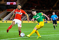 Preston North End's Sean Maguire crosses under pressure from Middlesbrough's Ryan Shotton<br /> <br /> Photographer Alex Dodd/CameraSport<br /> <br /> The EFL Sky Bet Championship - Middlesbrough v Preston North End - Wednesday 13th March 2019 - Riverside Stadium - Middlesbrough<br /> <br /> World Copyright &copy; 2019 CameraSport. All rights reserved. 43 Linden Ave. Countesthorpe. Leicester. England. LE8 5PG - Tel: +44 (0) 116 277 4147 - admin@camerasport.com - www.camerasport.com