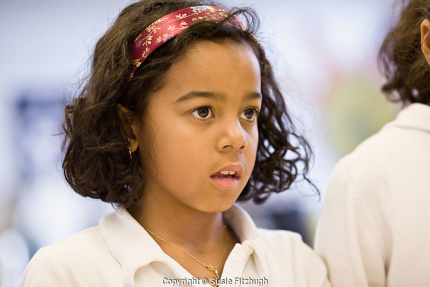 Girl in Lauren Atkinson's Arts Corps class at St. Therese School.