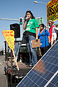 August 15, 2009. Ana Orozco, Community Organizer for Communities for a Better Environment speaks to the crowd. About two hundred people participated in a rally, march, and demonstration protesting Chevron's Richmond oil refinery renovation and expansion project. The event was organized by Mobilization for Climate Justice-West, a coalition of over thirty organizations, working to bring awareness to the refinery issue as well as the United Nations Climate Change Conference taking place in December in Copenhagen. Event organizers claim that the Richmond refinery project will allow the facility to refine heavier and dirtier crude that will result in more air pollution, greenhouse gas (GHGs) emissions, and health risks. A court ruling recently put the refinery project on hold saying that further environmental impact reporting was needed. Many protesters were also concerned about the environmental and human health impacts of oil company projects outside the United States. Richmond, California, USA