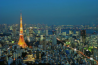 The Tokyo skyline with the iconic Tokyo Tower in orange, Tokyo, Japan. Tokyo is one of the most densely populated regions in the world, the massive metropolitan area is divided into 23 wards that make up the greater Tokyo downtown area. The Roppongi section of the city is the place provide one of the best views of the Tokyo skyline, including of the Tokyo Tower..14 Jan 2011