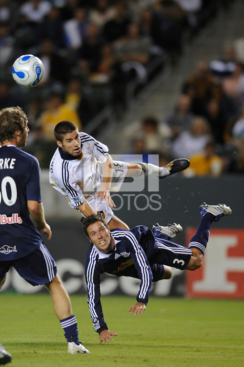 Los Angeles Galaxy's Kyle Martino and New York Red Bulls Hunter Freman get air during a  game at the Home Depot Center in Carson, CA on October 18, 2007. The LA Galaxy and the NY Red Bulls played to a 1-1 tie. (Matt A. Brown)