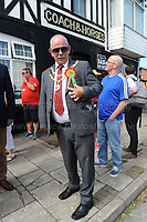 "The Mayor wears the original roasette that belonged to Aneurin Bevan during ""The Bevan Festival"" celebrating the 70th Anniversary of the National Health Service. <br /> <br /> Tredegar, South Wales, Sunday 1st July 2018 <br /> <br /> <br /> Jeff Thomas Photography -  www.jaypics.photoshelter.com - <br /> e-mail swansea1001@hotmail.co.uk -<br /> Mob: 07837 386244 -"
