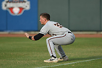 Adley Rutschman (37) of the Delmarva Shorebirds warms up prior to game one of the Northern Division, South Atlantic League Playoffs against the Hickory Crawdads at L.P. Frans Stadium on September 4, 2019 in Hickory, North Carolina. The Crawdads defeated the Shorebirds 4-3 to take a 1-0 lead in the series. (Tracy Proffitt/Four Seam Images)