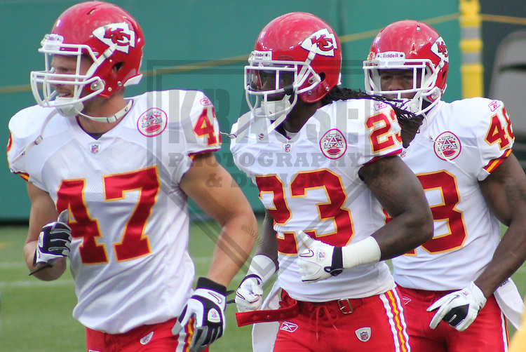 GREEN BAY - SEPTEMBER 2011: Members of the Kansas City Chiefs during a game on September 1, 2011 at Lambeau Field in Green Bay, Wisconsin. (Photo by Brad Krause)