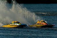 """Matt O'Conner, E-34 """"The Gator"""" (5 Litre class hydroplane) and Gordon Oakley, E-990 (5 Litre class hydroplane)"""