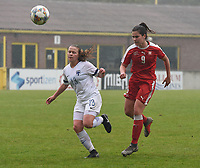 20190409  - Tubize , BELGIUM : Swiss Svenja Folmli (R) and Finland's Emmi Siren (L)pictured during the soccer match between the women under 19 teams of Switzerland and Finland , on the third matchday in group 2 of the UEFA Women Under19 Elite rounds in Tubize , Belgium. Tuesday 9 th April 2019 . PHOTO DIRK VUYLSTEKE / Sportpix.be