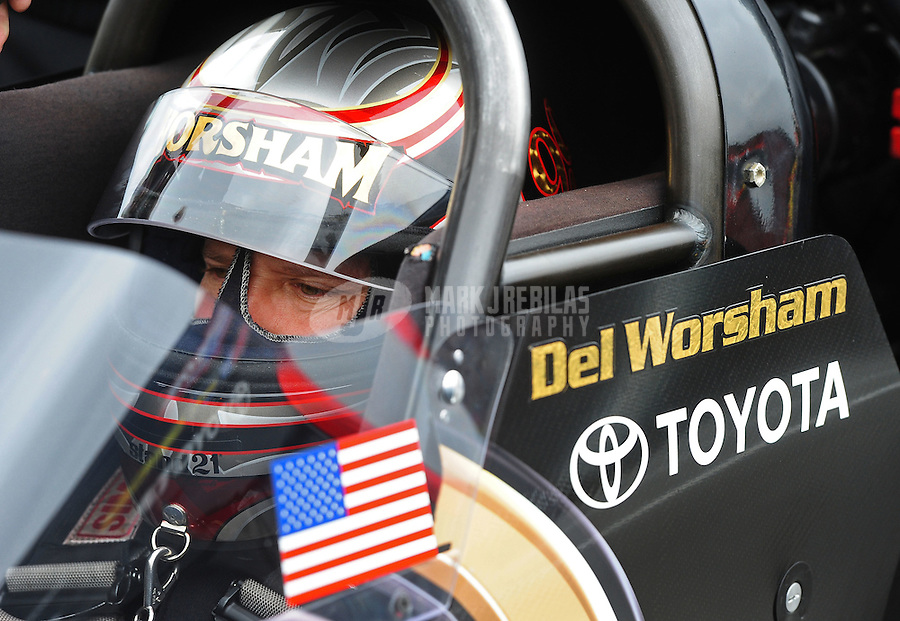 Oct. 2, 2011; Mohnton, PA, USA: NHRA top fuel dragster driver Del Worsham during the Auto Plus Nationals at Maple Grove Raceway. Mandatory Credit: Mark J. Rebilas-