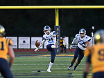 Mater Dei's Grant Cox kicks off after a Mater Dei first quarter touchdown. At right is teammate <br /> Tyler Timmermann. Mater Dei played football at Althoff on Friday September 13, 2019. <br />Tim Vizer/Special to STLhighschoolsports.com
