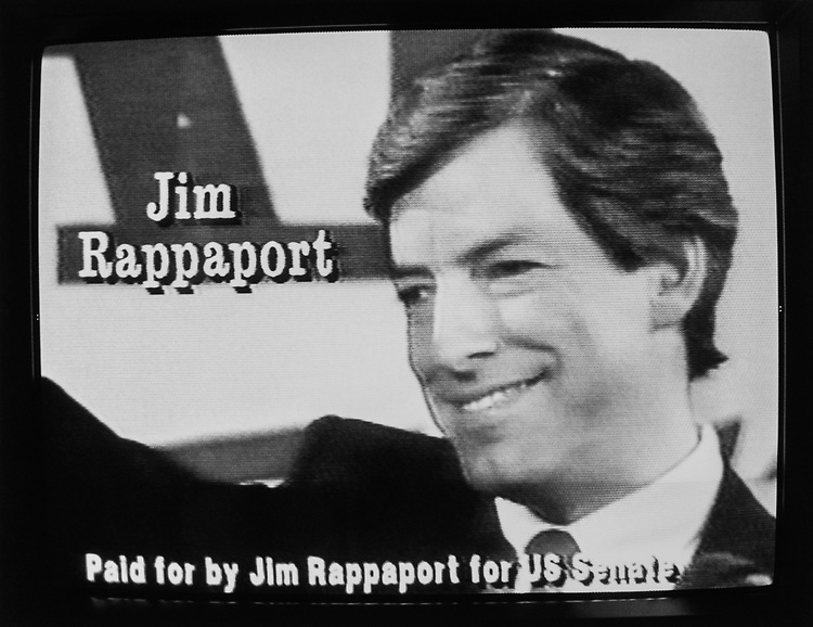 Congressman Jim Rappaport campaigning for Senate, while broadcasted on television, on July 16, 1990. (Photo by Maureen Keating/CQ Roll Call via Getty Images)