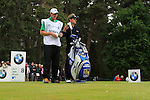 Luke Donald (ENG) and caddy John McClarren prepare tee off on the 8th tee during Day 3 of the BMW PGA Championship Championship at, Wentworth Club, Surrey, England, 28th May 2011. (Photo Eoin Clarke/Golffile 2011)