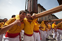 "Europe,Italy,Umbria,Gubbio,""corteo dei Santi"". La Festa dei Ceri, tradition is one of the most exciting and unique in Europe and takes place in the city of Gubbio May 15 of each year. The candles are three wooden machines in the form of octagonal prisms and decorated, weighing about 4 tons, carried triumphantly on the shoulders of ceraioli in honor of St. Ubaldo, the patron saint of the city."