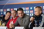 03.12.2014, Acara Hotel, Oldenburg, WBA-Weltmeisterschaft im Halbschwergewicht  Pawel Glazewski (PL) vs Juergen Braehmer /GER) -  Pressekonferenz, im Bild<br /> <br /> Trainer Karsten R&ouml;wer ( Juergen Braehmer)<br /> Juergen Braehmer (GER)<br /> Kalle Sauerland <br /> Pawel Glazewski (PL)<br /> <br /> Foto &copy; nordphoto / Kokenge