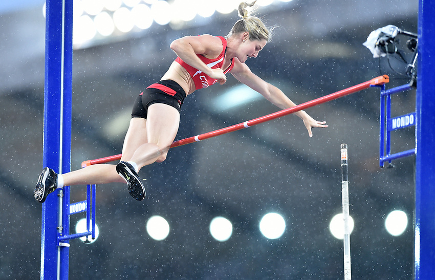 Wales' Sally Peake makes a successful jump in the women's pole vault competition.  Peake went on to claim the silver medal.<br /> <br /> Photographer Chris Vaughan/CameraSport<br /> <br /> 20th Commonwealth Games - Day 10 - Saturday 2nd August 2014 - Athletics - Hampden Park - Glasgow - UK<br /> <br /> © CameraSport - 43 Linden Ave. Countesthorpe. Leicester. England. LE8 5PG - Tel: +44 (0) 116 277 4147 - admin@CameraSport.com - www.CameraSport.com