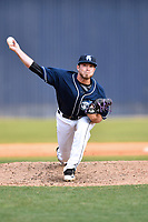 Asheville Tourists pitcher Mike Bunal (39) delivers a pitch during a game against the Greensboro Grasshoppers at McCormick Field on April 28, 2017 in Asheville, North Carolina. The Grasshoppers defeated the Tourists 7-4. (Tony Farlow/Four Seam Images)