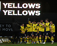 4th February 2020; Kassam Stadium, Oxford, Oxfordshire, England; English FA Cup Football; Oxford United versus Newcastle United; Nathan Holland of Oxford celebrates with his team after scoring in extra time to bring the scores level 2-2