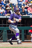 TCU Horned Frogs catcher Evan Skoug (9) follows through on his swing against the Texas Tech Red Raiders in Game 3 of the NCAA College World Series on June 19, 2016 at TD Ameritrade Park in Omaha, Nebraska. TCU defeated Texas Tech 5-3. (Andrew Woolley/Four Seam Images)