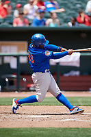 Iowa Cubs shortstop Ozzie Martinez (28) swings at a pitch during a game against the Memphis Redbirds on May 29, 2017 at AutoZone Park in Memphis, Tennessee.  Memphis defeated Iowa 6-5.  (Mike Janes/Four Seam Images)