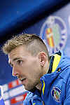 Getafe's Vicente Guaita in press conference after La Liga match. February 14,2016. (ALTERPHOTOS/Acero)