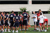 New York Red Bulls head coach Hans Backe talks with the team at the start of a New York Red Bulls practice on the campus of Montclair State University in Upper Montclair, NJ, on July 16, 2010.