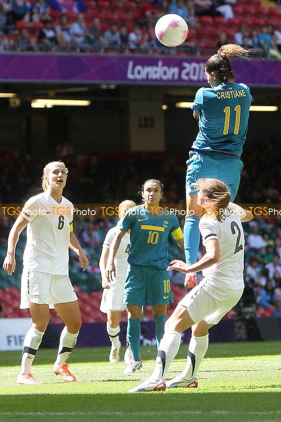 CRISTIANE of Brazil heads just over - New Zealand Women vs Brazil Women - Womens Olympic Football Tournament London 2012 Group E at the Millenium Stadium, Cardiff, Wales - 28/07/12 - MANDATORY CREDIT: Gavin Ellis/SHEKICKS/TGSPHOTO - Self billing applies where appropriate - 0845 094 6026 - contact@tgsphoto.co.uk - NO UNPAID USE.
