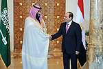 Egyptian President Abdel Fattah al-Sisi meets with Saudi Arabia's Crown Prince Mohammed bin Salman, in Cairo on March 4, 2018. Prince Mohammed will hold meetings with Sisi, a key regional ally, and other officials in Egypt before flying off to Britain on Wednesday and then later this month the United States. Photo by Egyptian President Office