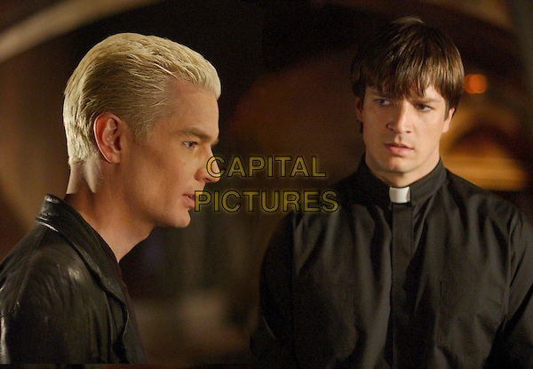 """Dirty Girls"" -- Spike (James Marsters, left) confronts Caleb (Nathan Fillion, right) a malevolent new agent of The First on, BUFFY THE VAMPIRE SLAYER.  .Filmstill - Editorial Use Only.Ref: FB.sales@capitalpictures.com.www.capitalpictures.com.Supplied by Capital Pictures."