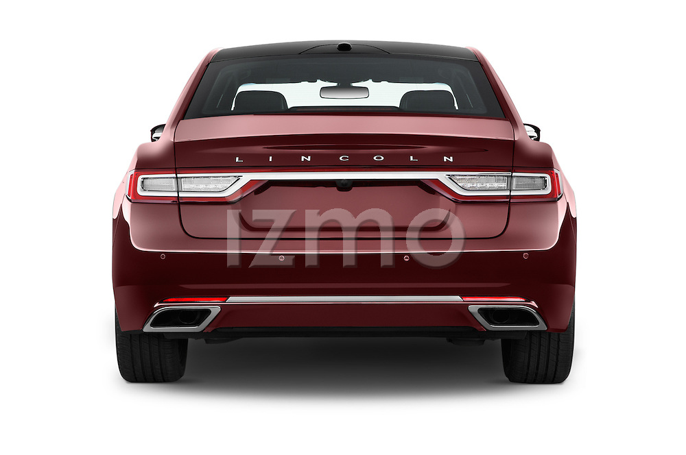 Straight rear view of 2017 Lincoln Continental Reserve 4 Door Sedan Rear View  stock images