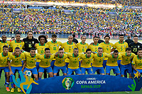 RIO DE JANEIRO – BRASIL, 7-07-2019: Formación de Brasil campeon de la Copa América Brasil 2019 entre Brasil y Perú jugado en el Maracá. /<br /> Training of Brazil champion of the Copa América Brazil 2019  final match between Brasil and Peru played at Maracana stadium in Rio de Janeiro, Brazil. Photos: VizzorImage / Cristian Álvarez / Cont /