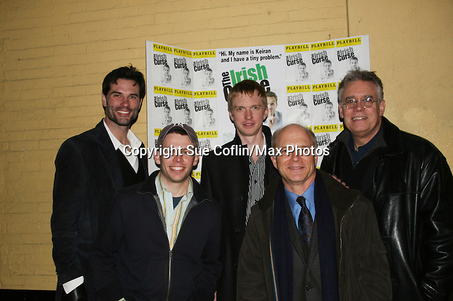 """The Cast of The Irish Curse - Austin Peck (Days & ATWT) - Roderick Hill - Scott Jaeck (Santa Barbara """"Cain"""" & Bold and the Beautiful) - front: Brian Leahy - Dan Butler at the Opening Night of the off-Broadway play The Irish Curse on March 28, 2010 at the Soho Playhouse, New York City, New York. (Photo by Sue Coflin/Max Photos)"""