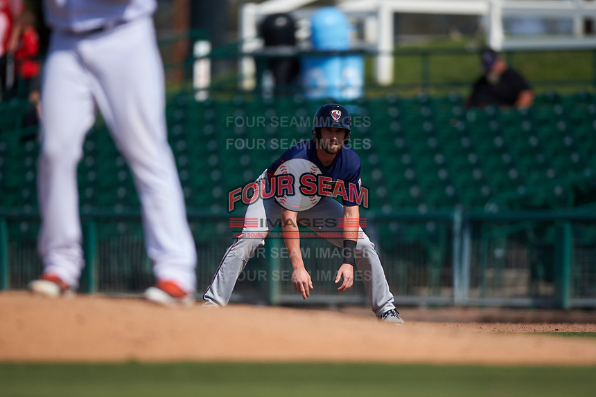 Lancaster JetHawks designated hitter Vince Fernandez (8) takes a lead from first base during a California League game against the Inland Empire 66ers at San Manuel Stadium on May 20, 2018 in San Bernardino, California. Inland Empire defeated Lancaster 12-2. (Zachary Lucy/Four Seam Images)