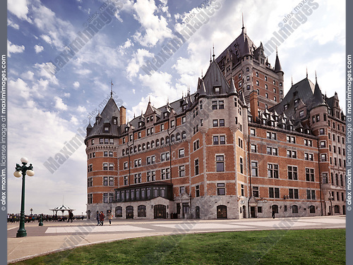 Fairmont Le Château Frontenac at dusk, luxury grand hotel Chateau Frontenac, National Historic Site of Canada in daytime. Old Quebec City, Quebec, Canada. Ville de Québec. Spring 2017.
