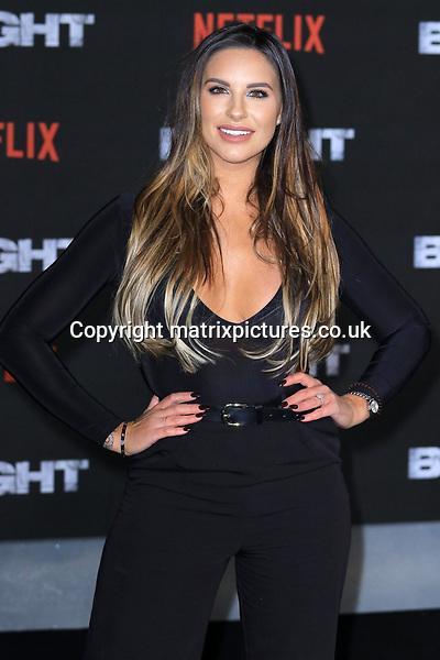 NON EXCLUSIVE PICTURE: MATRIXPICTURES.CO.UK<br /> PLEASE CREDIT ALL USES<br /> <br /> WORLD RIGHTS<br /> <br /> Jessica Shears attending the UK premiere of Netflix's 'Bright', held on London's Southbank.<br /> <br /> DECEMBER 15th 2017<br /> <br /> REF: MES 172875