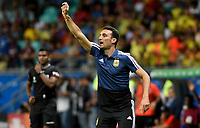 SALVADOR – BRASIL, 15-06-2019: Lionel Scaloni técnico de Argentina gesticula durante partido de la Copa América Brasil 2019, grupo B, entre Argentina y Colombia jugado en el Itaipava Fonte Nova Arena de la ciudad de Salvador, Brasil. / Lionel Scaloni coach of Argentina gestures during the Copa America Brazil 2019 group B match between Argentina and Colombia played at Itaipava Fonte Nova Arena in Salvador, Brazil. Photos: VizzorImage / Julian Medina / Cont / FCF