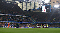 The teams line up to pay their respects to Ray Wilkins<br /> <br /> Photographer Rob Newell/CameraSport<br /> <br /> The Premier League - Chelsea v West Ham United - Sunday 8th April 2018 - Stamford Bridge - London<br /> <br /> World Copyright &copy; 2018 CameraSport. All rights reserved. 43 Linden Ave. Countesthorpe. Leicester. England. LE8 5PG - Tel: +44 (0) 116 277 4147 - admin@camerasport.com - www.camerasport.com