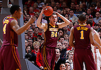 Minnesota Golden Gophers forward Joey King (24) reacts to a foul called on him during the first half of the NCAA men's basketball game between the Ohio State Buckeyes and the Minnesota Golden Gophers at Value City Arena in Columbus, Ohio, on Saturday, Feb. 22, 2014. At the end of the first half, Minnesota led Ohio State, 28-18. (Columbus Dispatch/Sam Greene)