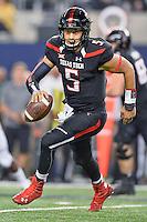 Texas Tech quarterback Patrick Mahomes (5) rushes with the ball during an NCAA Football game, Saturday, November 29, 2014 in Arlington, Tex. Baylor defeated Texas Tech 48-46. (Mo Khursheed/TFV Media via AP Images)