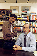 "New York, U.S.A, November 28, 1984. From left to right Dith Pran, Cambodian photojournalist and Sydney Schanberg, American Pulitzer prize journalist in their New York Times office. Dith Pran's story of escaping the Khmer Rouge regime inspired the making of the film ""The Killing Fields""."