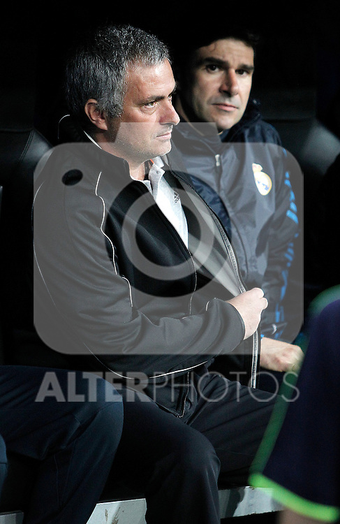 Real Madrid's coach Jose Mourinho and assistant coach Aitor Karanka during UEFA Champions League Match. April 04, 2012. (ALTERPHOTOS/Alvaro Hernandez)