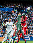 Goalkeeper Keylor Navas of Real Madrid saves the ball during the UEFA Champions League Semi-final 2nd leg match between Real Madrid and Bayern Munich at the Estadio Santiago Bernabeu on May 01 2018 in Madrid, Spain. Photo by Diego Souto / Power Sport Images