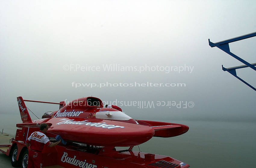 "The U-1 ""Miss Budweiser"" in the early morning fog."