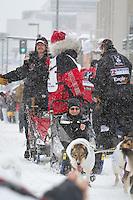 Aliy Zirkle leaves the 2011 Iditarod ceremonial start line in downtown Anchorage, during the 2012 Iditarod..Jim R. Kohl/Iditarodphotos.com